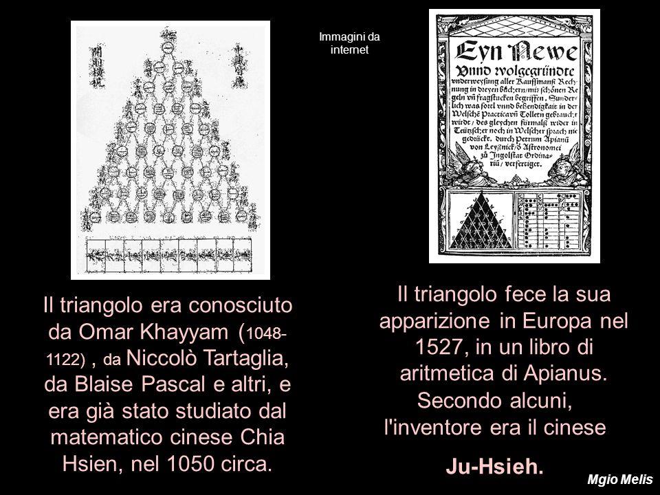 Il triangolo era conosciuto da Omar Khayyam ( 1048- 1122), da Niccolò Tartaglia, da Blaise Pascal e altri, e era già stato studiato dal matematico cin