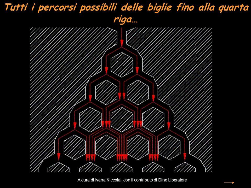 Tutti i percorsi possibili delle biglie fino alla quarta riga… A cura di Ivana Niccolai, con il contributo di Dino Liberatore