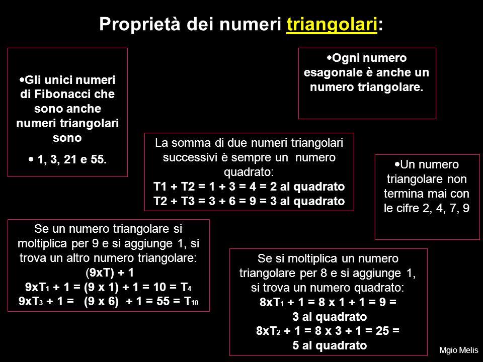 Gli unici numeri di Fibonacci che sono anche numeri triangolari sono 1, 3, 21 e 55. Ogni numero esagonale è anche un numero triangolare. Proprietà dei