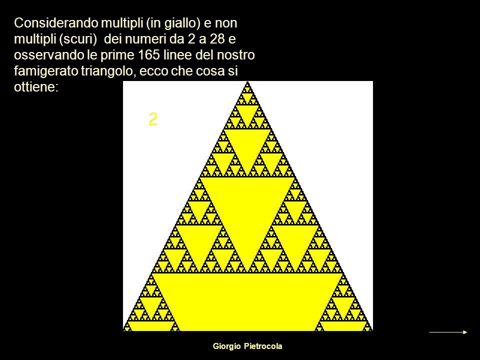 Considerando multipli (in giallo) e non multipli (scuri) dei numeri da 2 a 28 e osservando le prime 165 linee del nostro famigerato triangolo, ecco ch