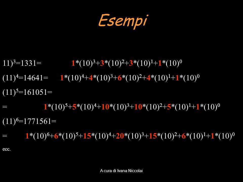 11) 3 =1331= 1*(10) 3 +3*(10) 2 +3*(10) 1 +1*(10) 0 (11) 4 =14641= 1*(10) 4 +4*(10) 3 +6*(10) 2 +4*(10) 1 +1*(10) 0 (11) 5 =161051= = 1*(10) 5 +5*(10)