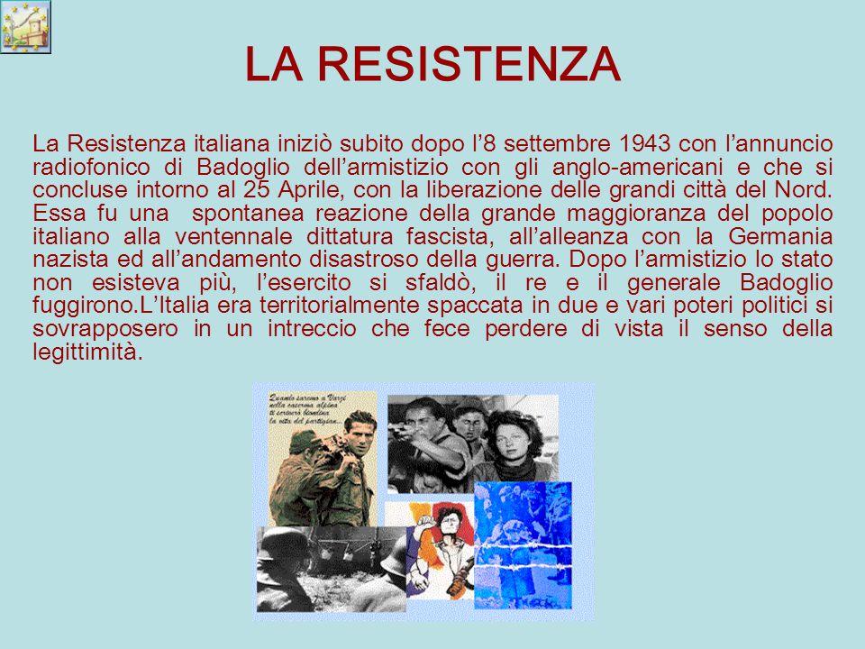 La Resistenza italiana iniziò subito dopo l8 settembre 1943 con lannuncio radiofonico di Badoglio dellarmistizio con gli anglo-americani e che si concluse intorno al 25 Aprile, con la liberazione delle grandi città del Nord.