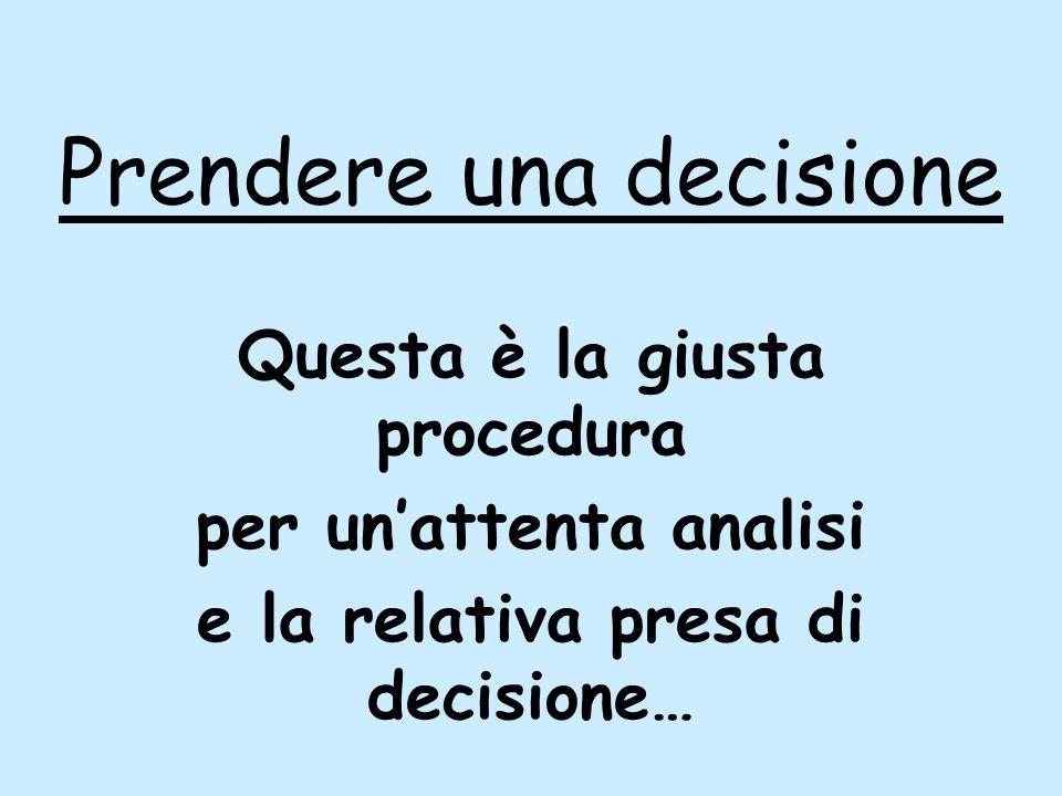 Prendere una decisione Questa è la giusta procedura per unattenta analisi e la relativa presa di decisione…
