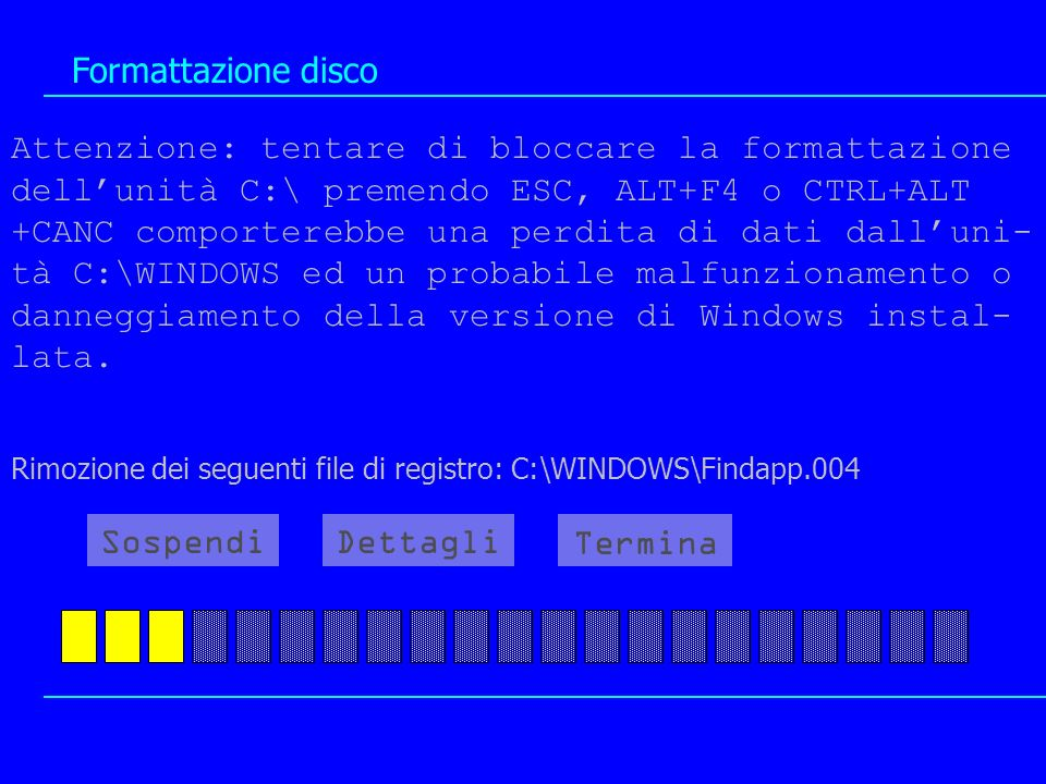 Formattazione disco Attenzione: tentare di bloccare la formattazione dellunità C:\ premendo ESC, ALT+F4 o CTRL+ALT +CANC comporterebbe una perdita di