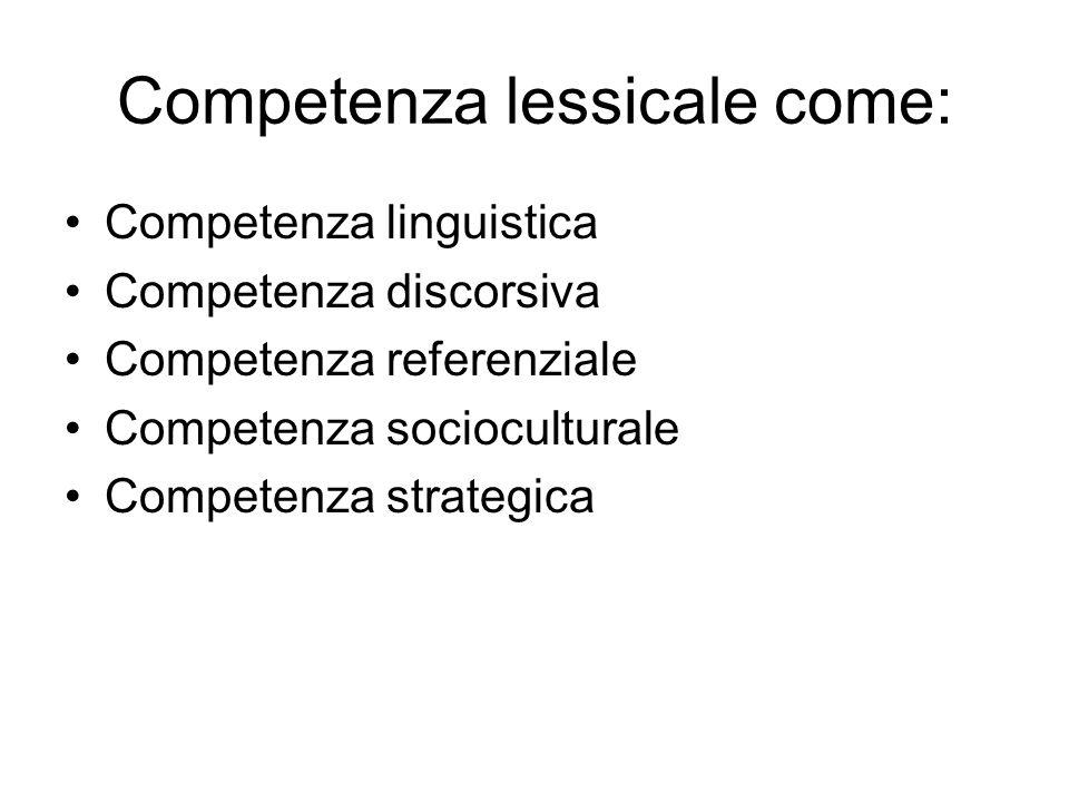 Competenza lessicale come: Competenza linguistica Competenza discorsiva Competenza referenziale Competenza socioculturale Competenza strategica