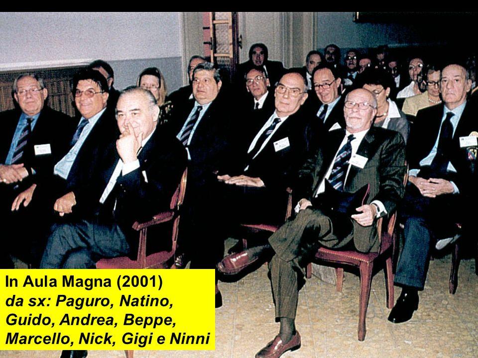 In Aula Magna (2001) da sx: Paguro, Natino, Guido, Andrea, Beppe, Marcello, Nick, Gigi e Ninni