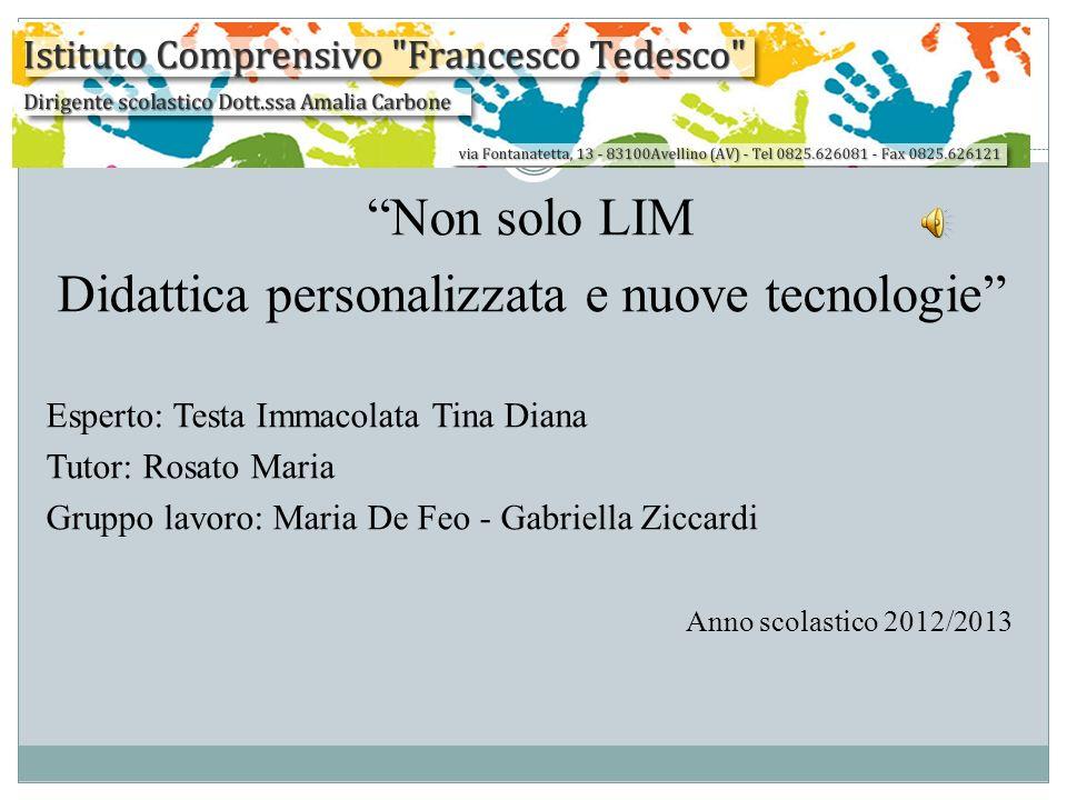 Non solo LIM Didattica personalizzata e nuove tecnologie Esperto: Testa Immacolata Tina Diana Tutor: Rosato Maria Gruppo lavoro: Maria De Feo - Gabrie