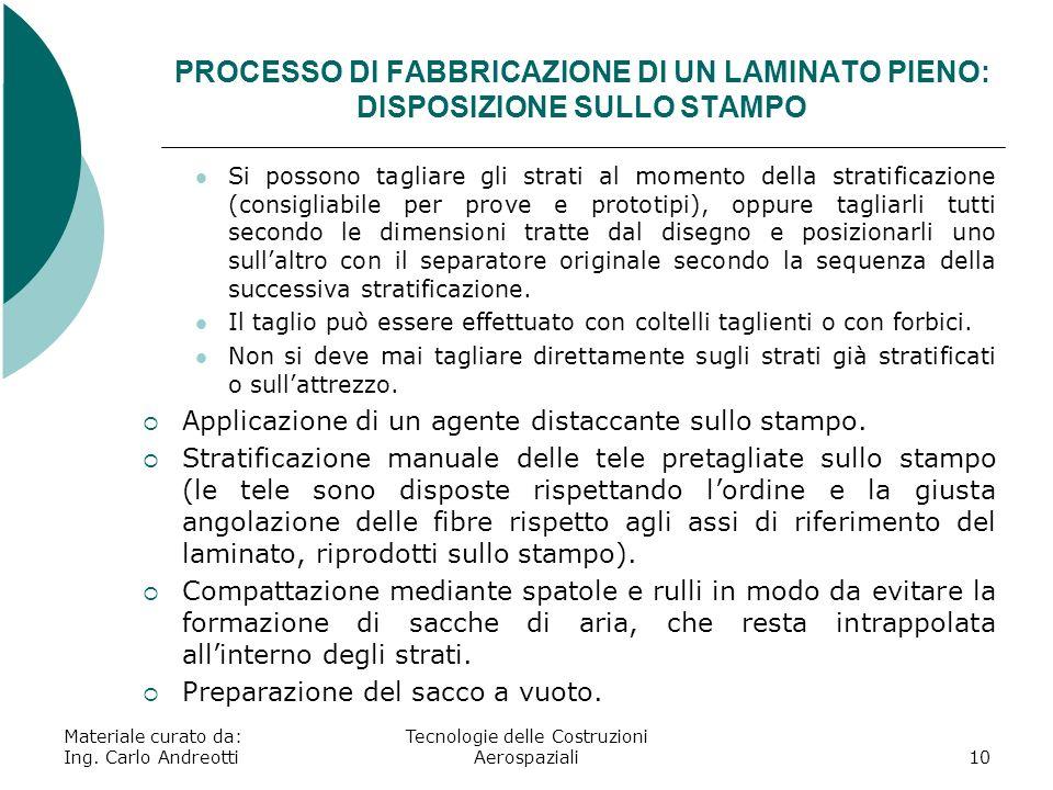 Materiale curato da: Ing. Carlo Andreotti Tecnologie delle Costruzioni Aerospaziali10 PROCESSO DI FABBRICAZIONE DI UN LAMINATO PIENO: DISPOSIZIONE SUL
