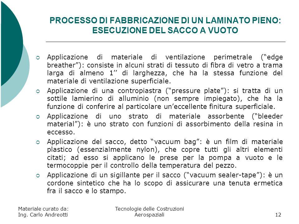 Materiale curato da: Ing. Carlo Andreotti Tecnologie delle Costruzioni Aerospaziali12 PROCESSO DI FABBRICAZIONE DI UN LAMINATO PIENO: ESECUZIONE DEL S