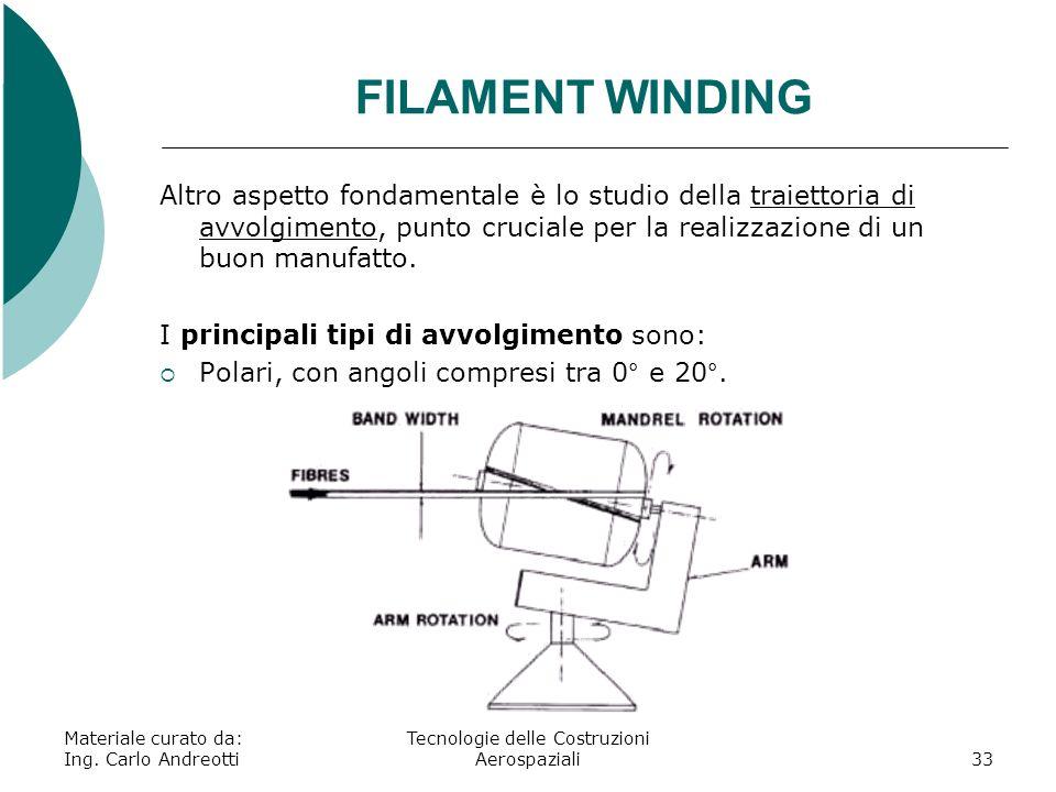 Materiale curato da: Ing. Carlo Andreotti Tecnologie delle Costruzioni Aerospaziali33 FILAMENT WINDING Altro aspetto fondamentale è lo studio della tr