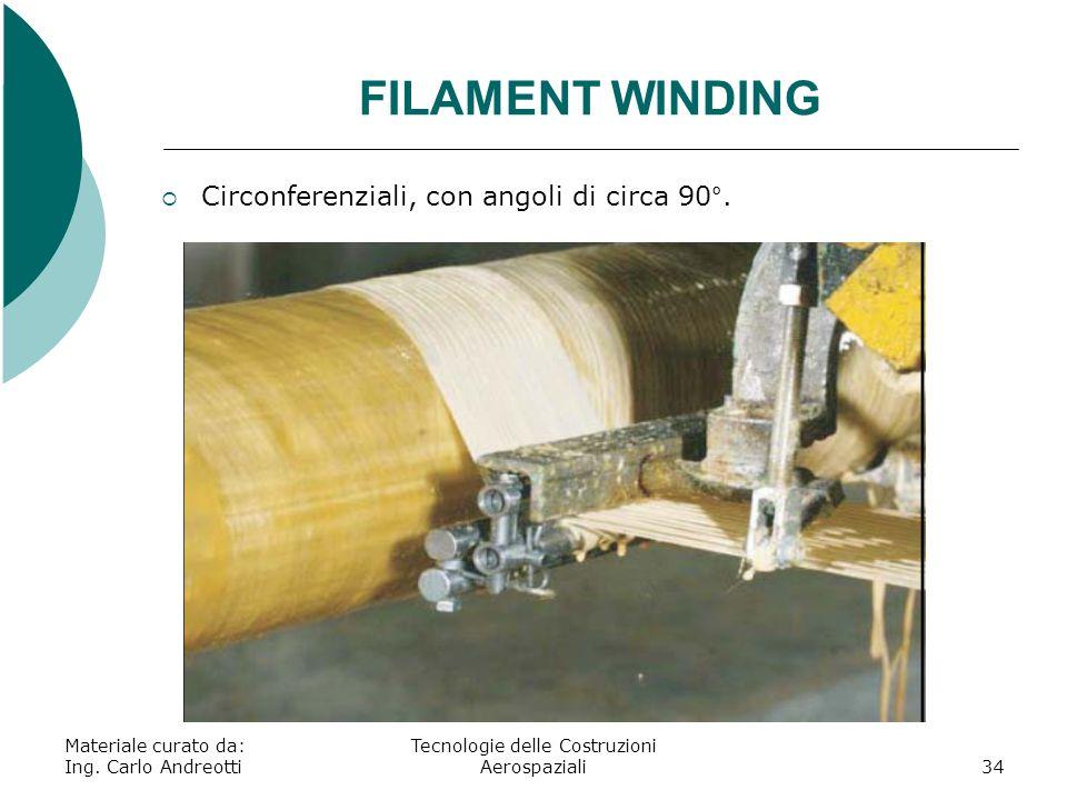 Materiale curato da: Ing. Carlo Andreotti Tecnologie delle Costruzioni Aerospaziali34 FILAMENT WINDING Circonferenziali, con angoli di circa 90°.