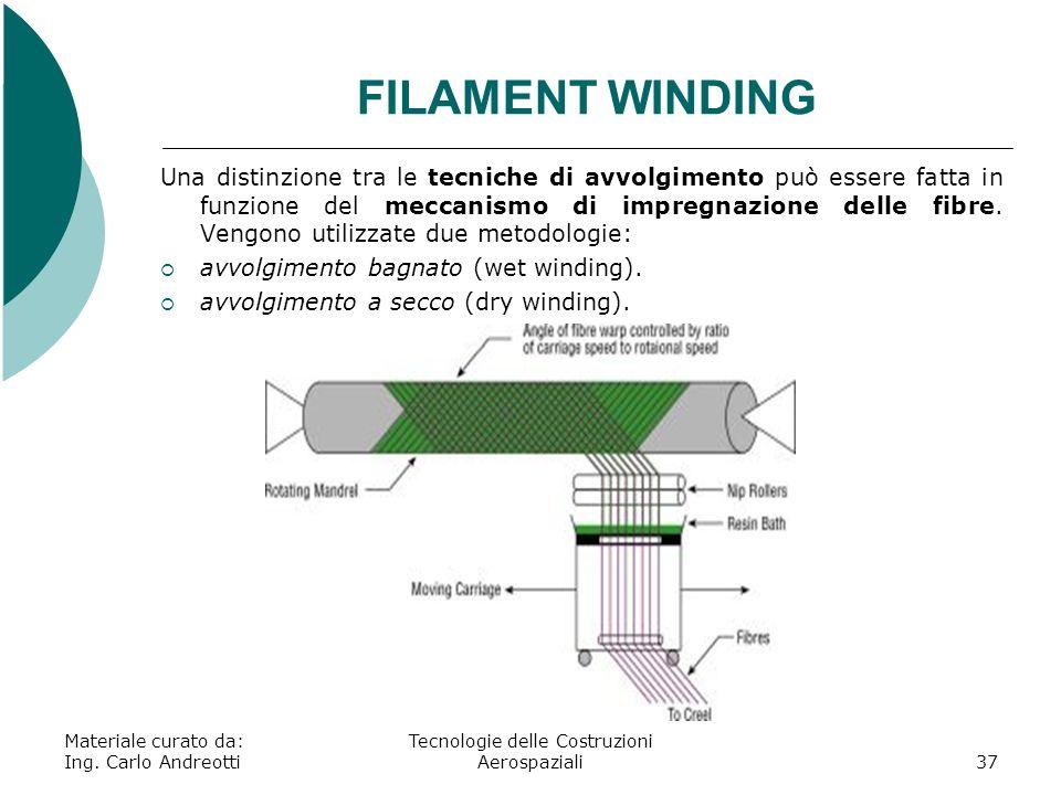 Materiale curato da: Ing. Carlo Andreotti Tecnologie delle Costruzioni Aerospaziali37 FILAMENT WINDING Una distinzione tra le tecniche di avvolgimento