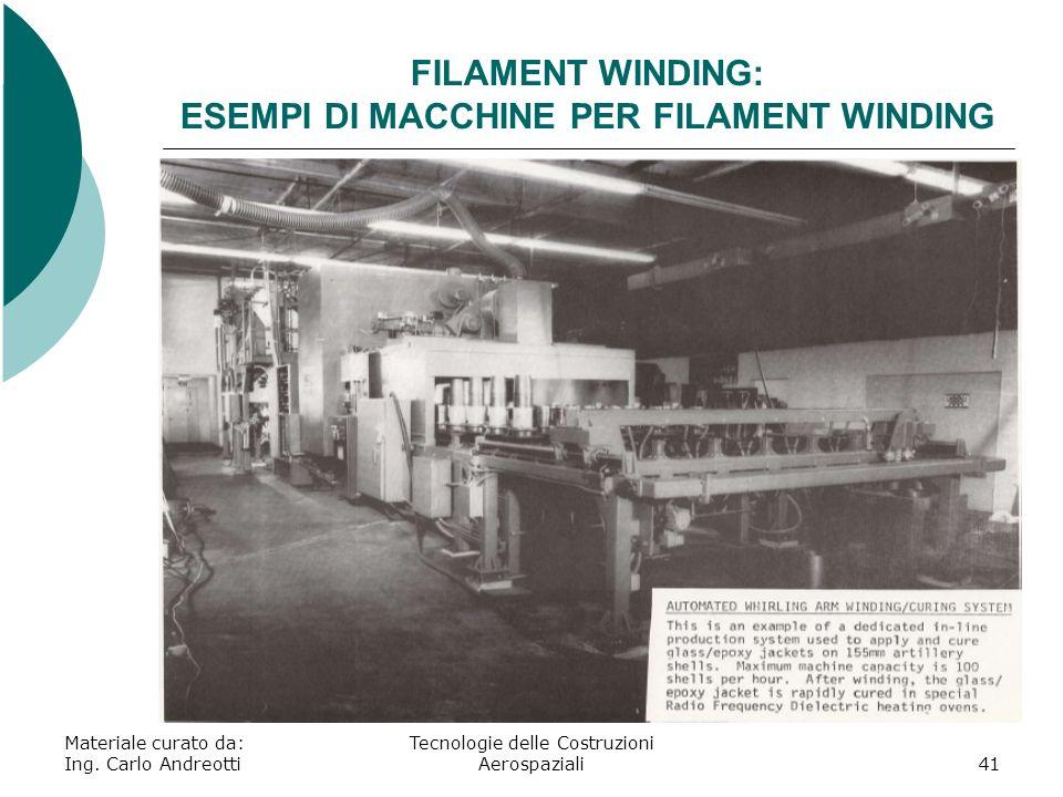 Materiale curato da: Ing. Carlo Andreotti Tecnologie delle Costruzioni Aerospaziali41 FILAMENT WINDING: ESEMPI DI MACCHINE PER FILAMENT WINDING