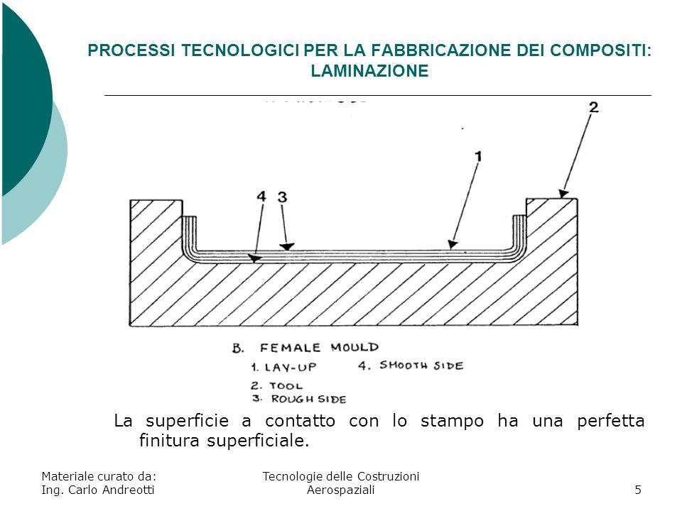 Materiale curato da: Ing. Carlo Andreotti Tecnologie delle Costruzioni Aerospaziali5 PROCESSI TECNOLOGICI PER LA FABBRICAZIONE DEI COMPOSITI: LAMINAZI