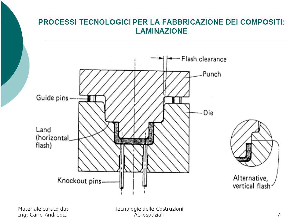 Materiale curato da: Ing. Carlo Andreotti Tecnologie delle Costruzioni Aerospaziali7 PROCESSI TECNOLOGICI PER LA FABBRICAZIONE DEI COMPOSITI: LAMINAZI