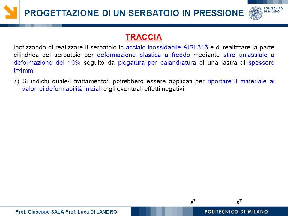 Prof. Giuseppe SALA Prof. Luca DI LANDRO PROGETTAZIONE DI UN SERBATOIO IN PRESSIONE 7)Si indichi quale/i trattamento/i potrebbero essere applicati per