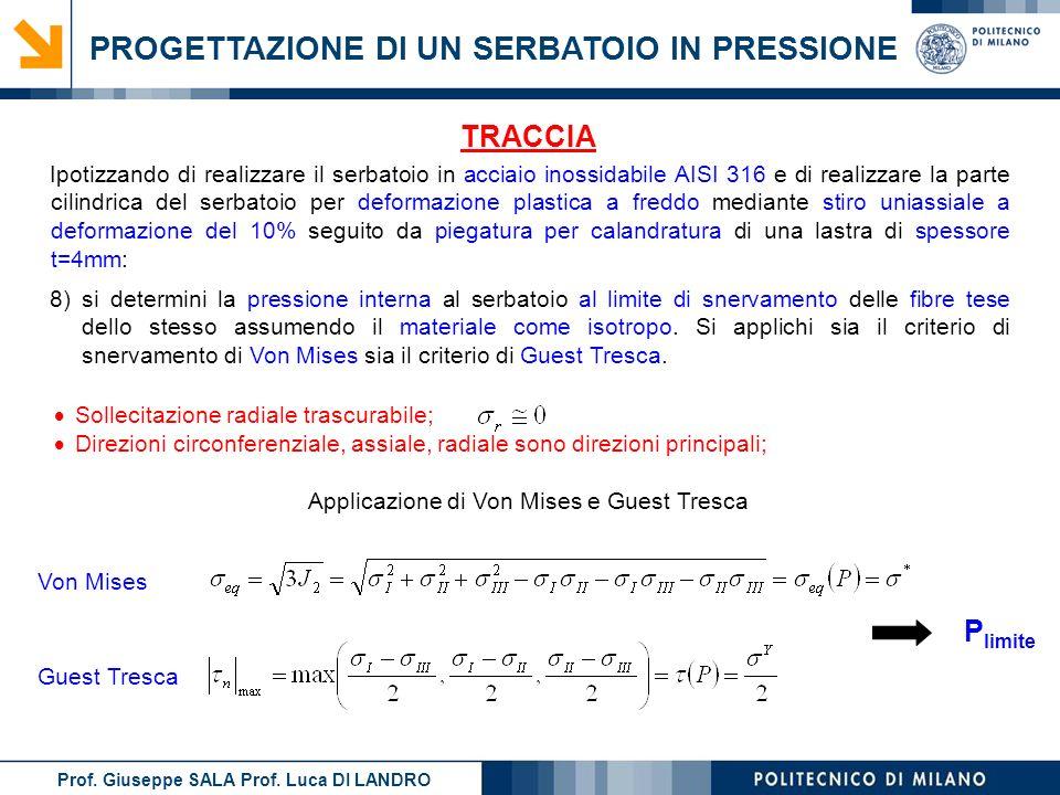Prof. Giuseppe SALA Prof. Luca DI LANDRO PROGETTAZIONE DI UN SERBATOIO IN PRESSIONE Sollecitazione radiale trascurabile; Direzioni circonferenziale, a