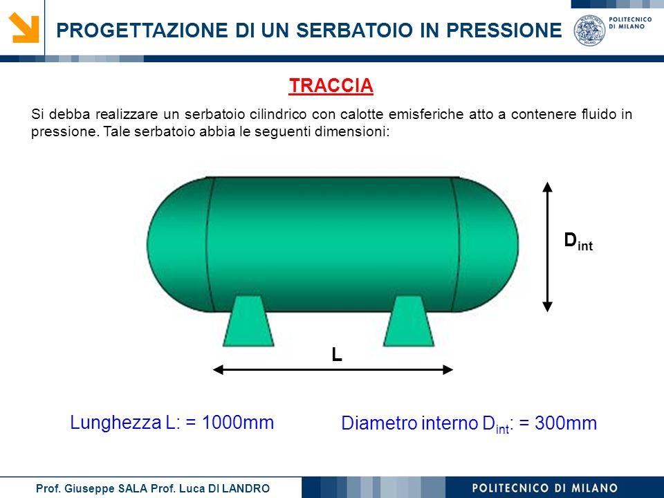 PROGETTAZIONE DI UN SERBATOIO IN PRESSIONE Si debba realizzare un serbatoio cilindrico con calotte emisferiche atto a contenere fluido in pressione. T