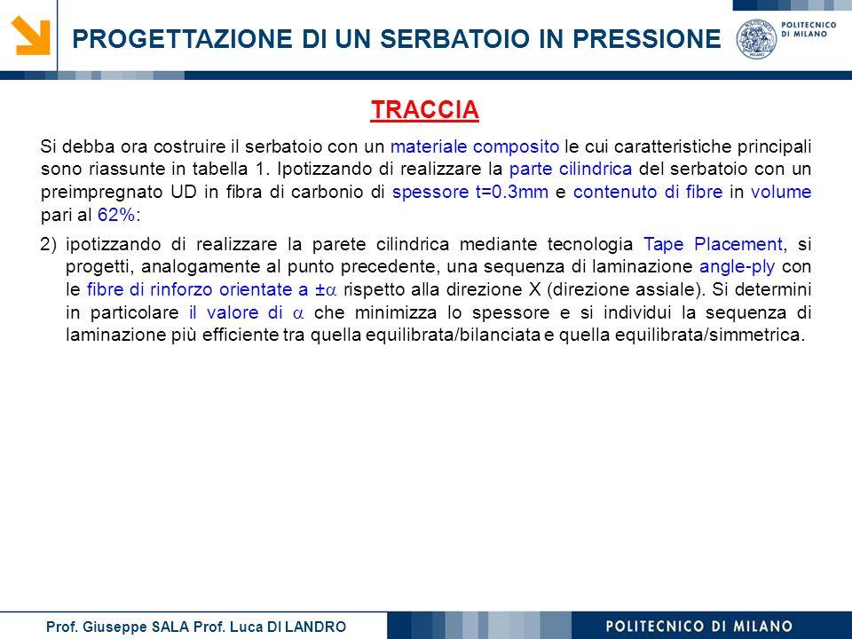 Prof. Giuseppe SALA Prof. Luca DI LANDRO PROGETTAZIONE DI UN SERBATOIO IN PRESSIONE TRACCIA 2)ipotizzando di realizzare la parete cilindrica mediante