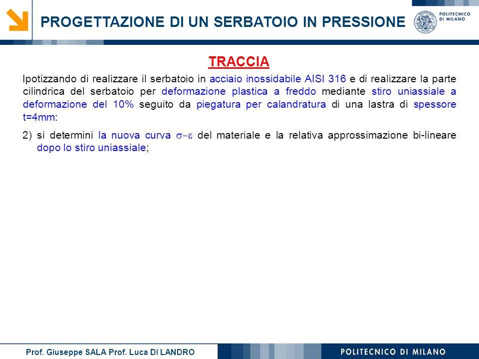Prof. Giuseppe SALA Prof. Luca DI LANDRO PROGETTAZIONE DI UN SERBATOIO IN PRESSIONE TRACCIA 2)si determini la nuova curva del materiale e la relativa