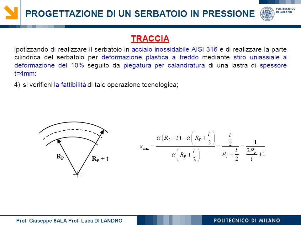Prof. Giuseppe SALA Prof. Luca DI LANDRO PROGETTAZIONE DI UN SERBATOIO IN PRESSIONE TRACCIA 4)si verifichi la fattibilità di tale operazione tecnologi