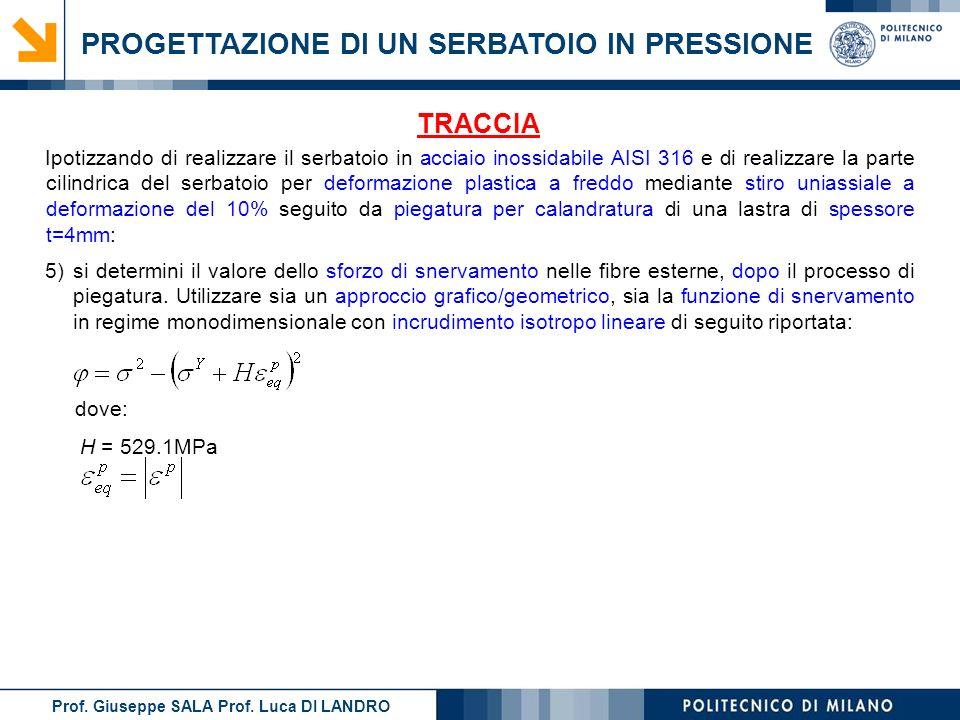 Prof. Giuseppe SALA Prof. Luca DI LANDRO PROGETTAZIONE DI UN SERBATOIO IN PRESSIONE TRACCIA 5)si determini il valore dello sforzo di snervamento nelle