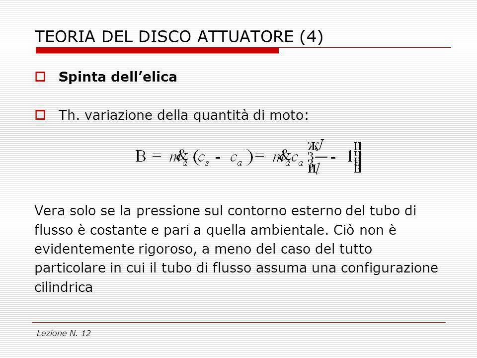 Lezione N. 12 TEORIA DEL DISCO ATTUATORE (4) Spinta dellelica Th. variazione della quantità di moto: Vera solo se la pressione sul contorno esterno de