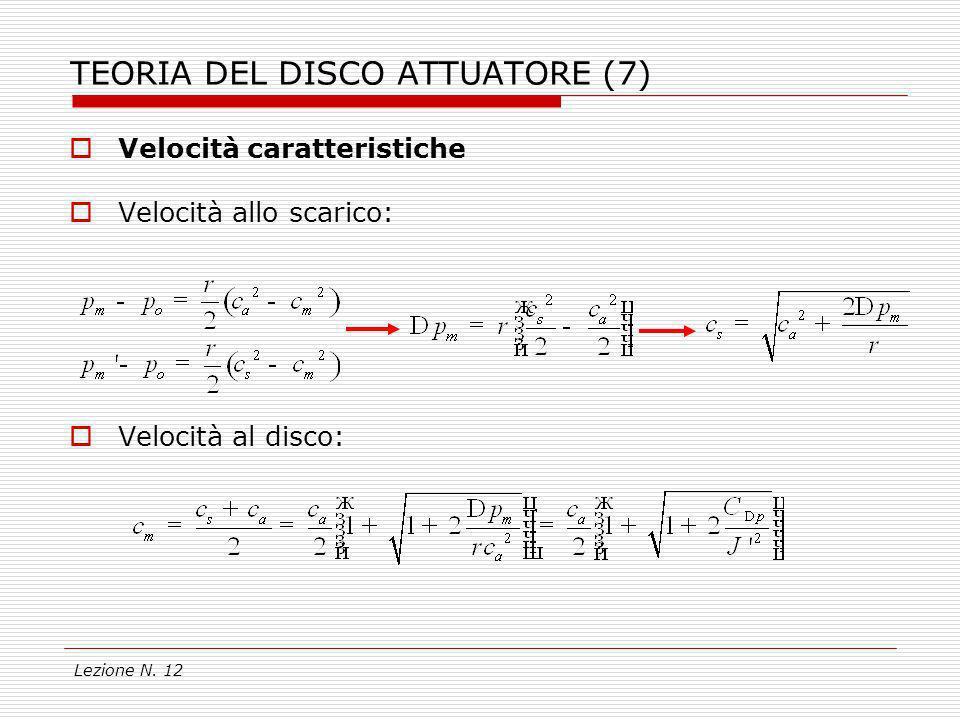 Lezione N. 12 TEORIA DEL DISCO ATTUATORE (7) Velocità caratteristiche Velocità allo scarico: Velocità al disco: