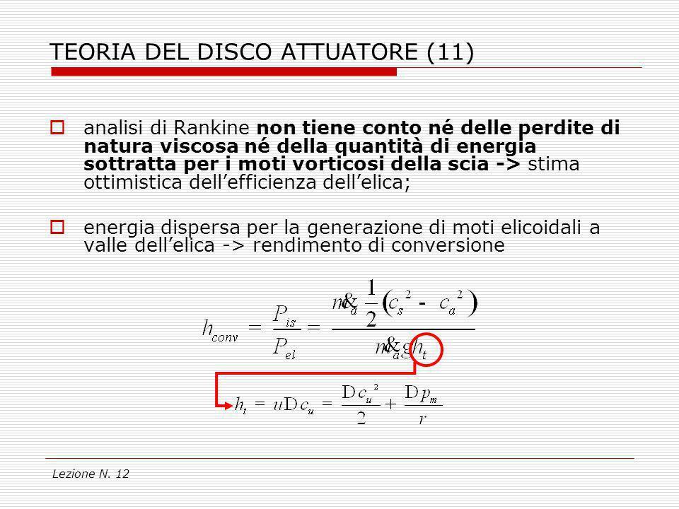 Lezione N. 12 TEORIA DEL DISCO ATTUATORE (11) analisi di Rankine non tiene conto né delle perdite di natura viscosa né della quantità di energia sottr