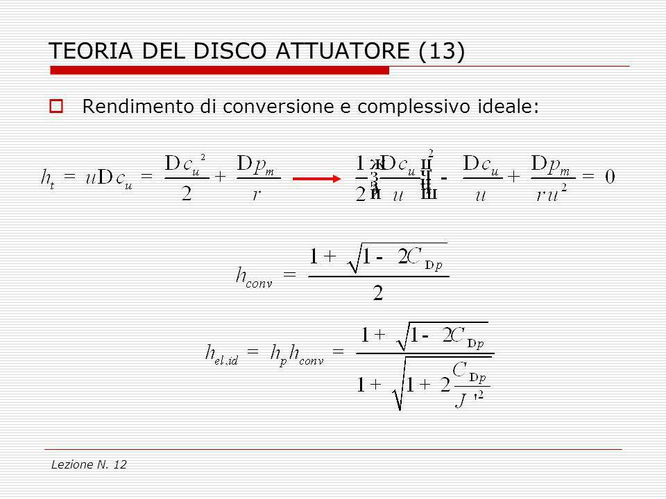 Lezione N. 12 TEORIA DEL DISCO ATTUATORE (13) Rendimento di conversione e complessivo ideale: