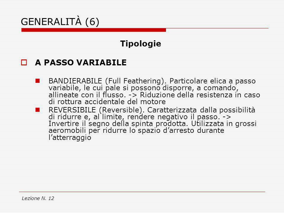 Lezione N. 12 GENERALITÀ (6) Tipologie A PASSO VARIABILE BANDIERABILE (Full Feathering). Particolare elica a passo variabile, le cui pale si possono d