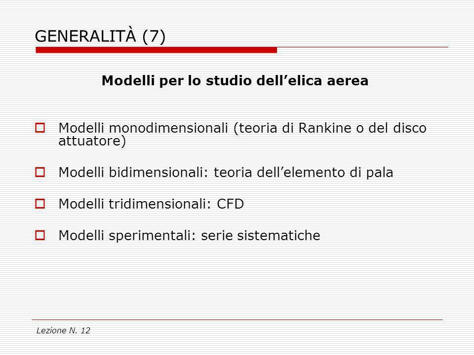 Lezione N. 12 GENERALITÀ (7) Modelli per lo studio dellelica aerea Modelli monodimensionali (teoria di Rankine o del disco attuatore) Modelli bidimens