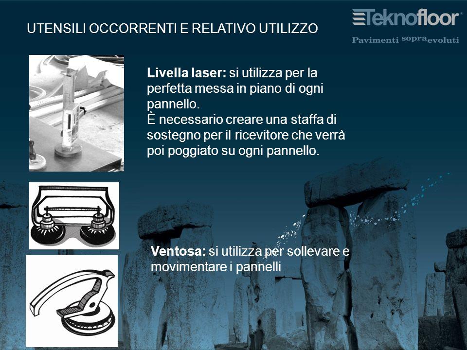 UTENSILI OCCORRENTI E RELATIVO UTILIZZO Livella laser: si utilizza per la perfetta messa in piano di ogni pannello.
