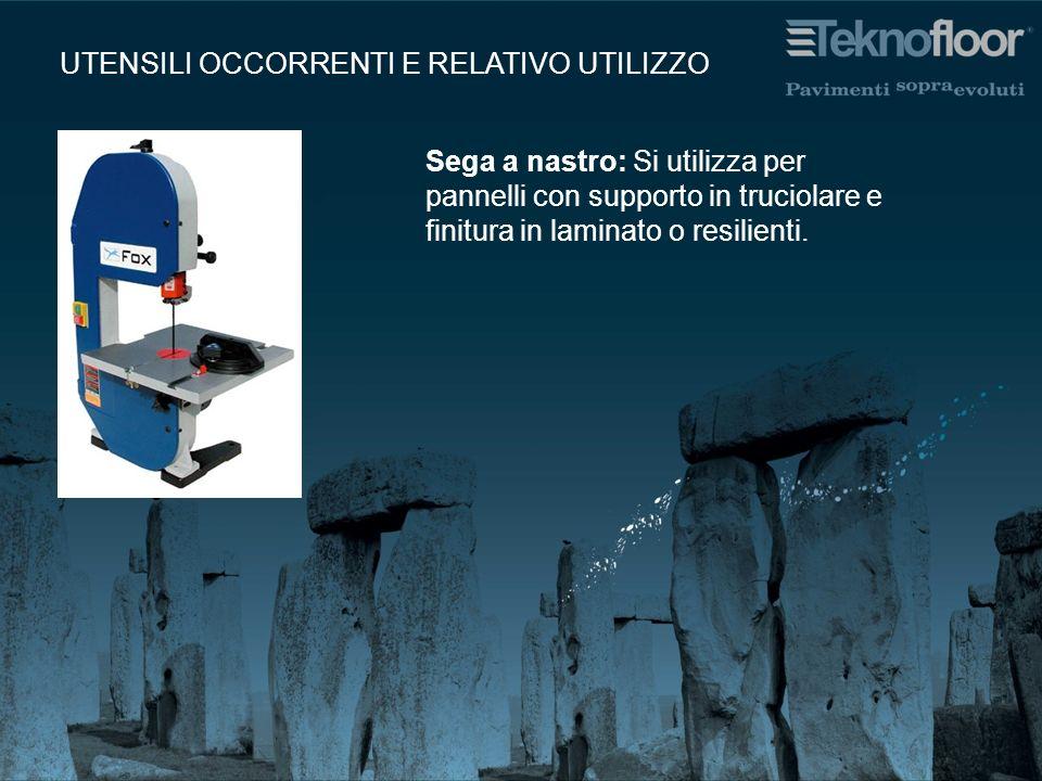 Sega a nastro: Si utilizza per pannelli con supporto in truciolare e finitura in laminato o resilienti. UTENSILI OCCORRENTI E RELATIVO UTILIZZO