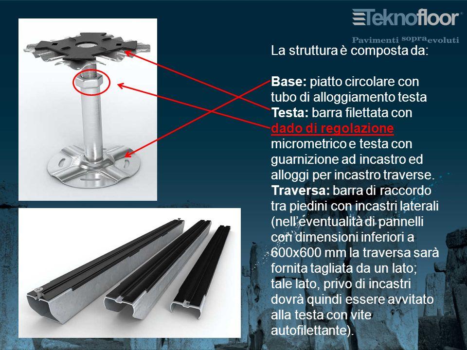 La struttura è composta da: Base: piatto circolare con tubo di alloggiamento testa Testa: barra filettata con dado di regolazione micrometrico e testa con guarnizione ad incastro ed alloggi per incastro traverse.