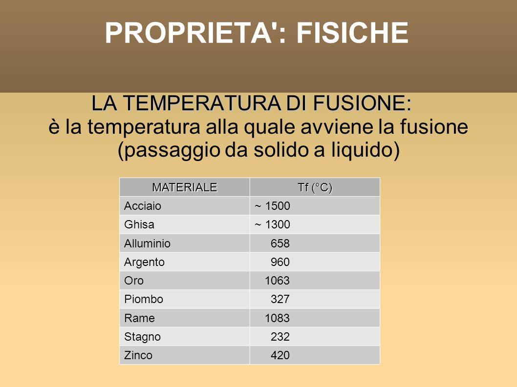 PROPRIETA': FISICHE LA TEMPERATURA DI FUSIONE: è la temperatura alla quale avviene la fusione (passaggio da solido a liquido) MATERIALE Tf (°C) Acciai