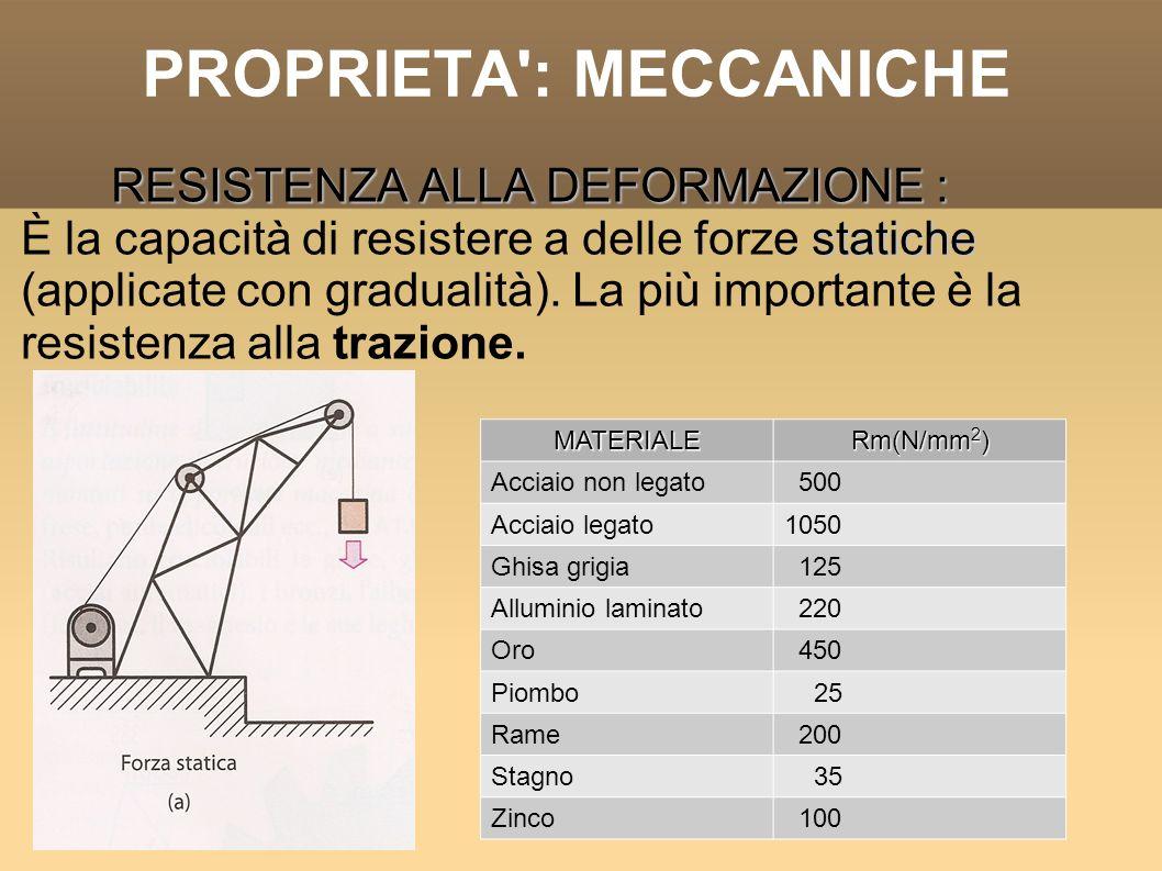 PROPRIETA': MECCANICHE RESISTENZA ALLA DEFORMAZIONE : statiche È la capacità di resistere a delle forze statiche (applicate con gradualità). La più im