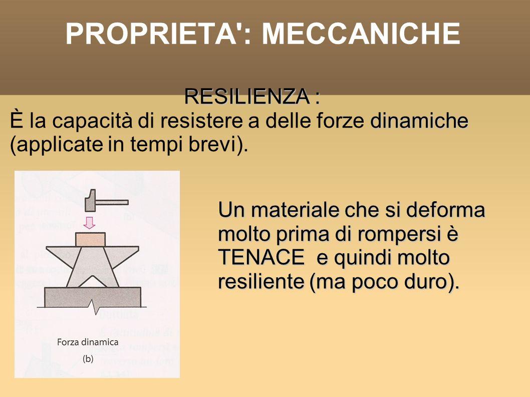 PROPRIETA': MECCANICHE RESILIENZA : dinamiche È la capacità di resistere a delle forze dinamiche (applicate in tempi brevi). Un materiale che si defor