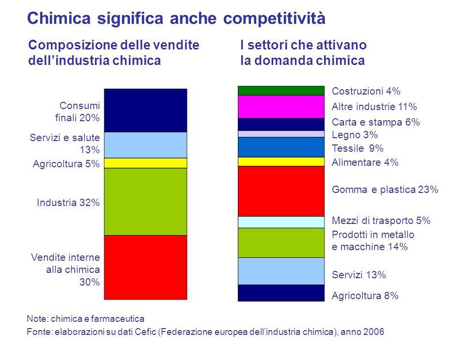 Fonte: elaborazioni su dati Cefic (Federazione europea dellindustria chimica), anno 2006 Composizione delle vendite dellindustria chimica Consumi fina