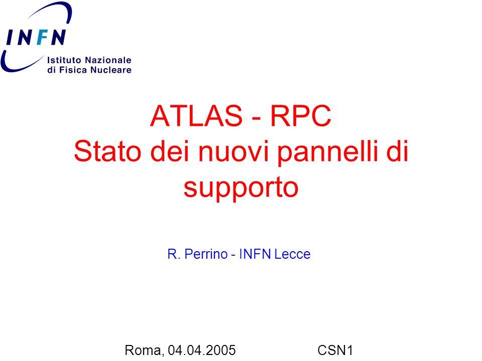 ATLAS - RPC Stato dei nuovi pannelli di supporto R. Perrino - INFN Lecce Roma, 04.04.2005CSN1