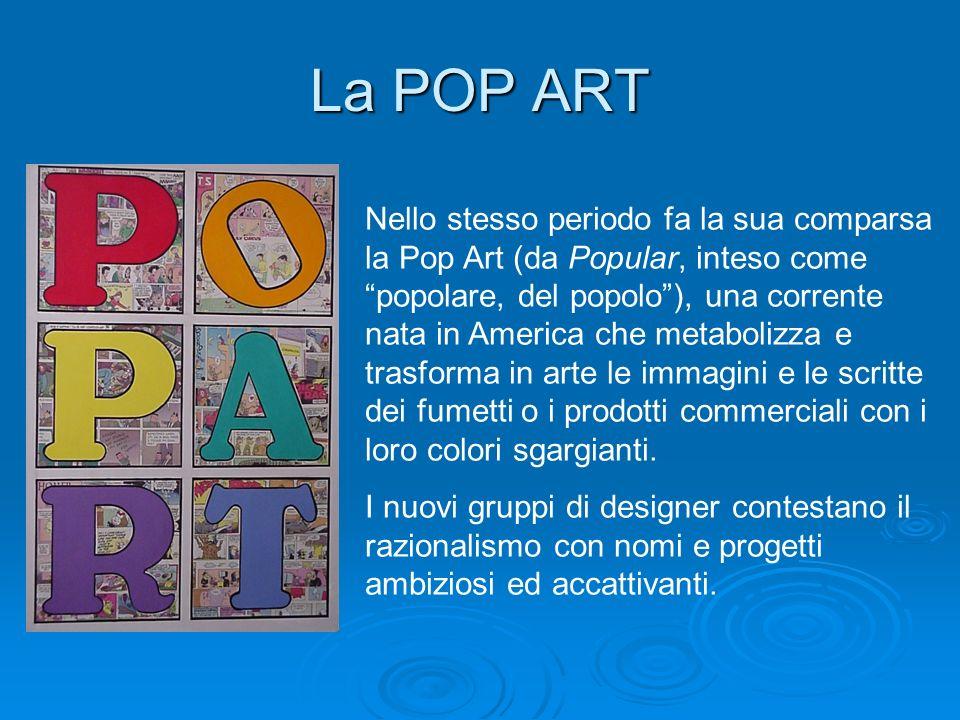 La POP ART Nello stesso periodo fa la sua comparsa la Pop Art (da Popular, inteso come popolare, del popolo), una corrente nata in America che metabol