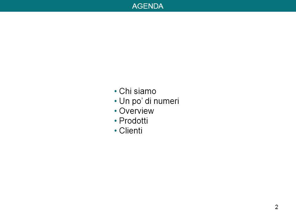 2 Chi siamo Un po di numeri Overview Prodotti Clienti AGENDA
