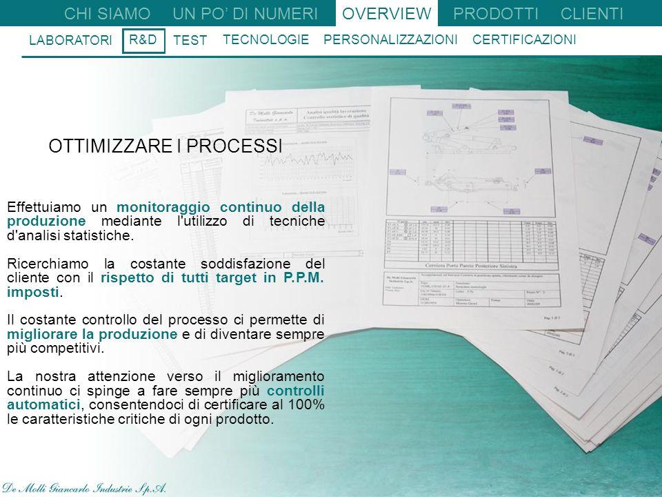23 CHI SIAMO UN PO DI NUMERIOVERVIEW R&D TEST TECNOLOGIE PERSONALIZZAZIONI CERTIFICAZIONI LABORATORI CLIENTI PRODOTTI OTTIMIZZARE I PROCESSI Effettuiamo un monitoraggio continuo della produzione mediante l utilizzo di tecniche d analisi statistiche.