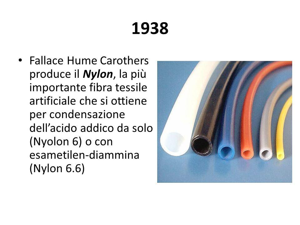 1938 Fallace Hume Carothers produce il Nylon, la più importante fibra tessile artificiale che si ottiene per condensazione dellacido addico da solo (N