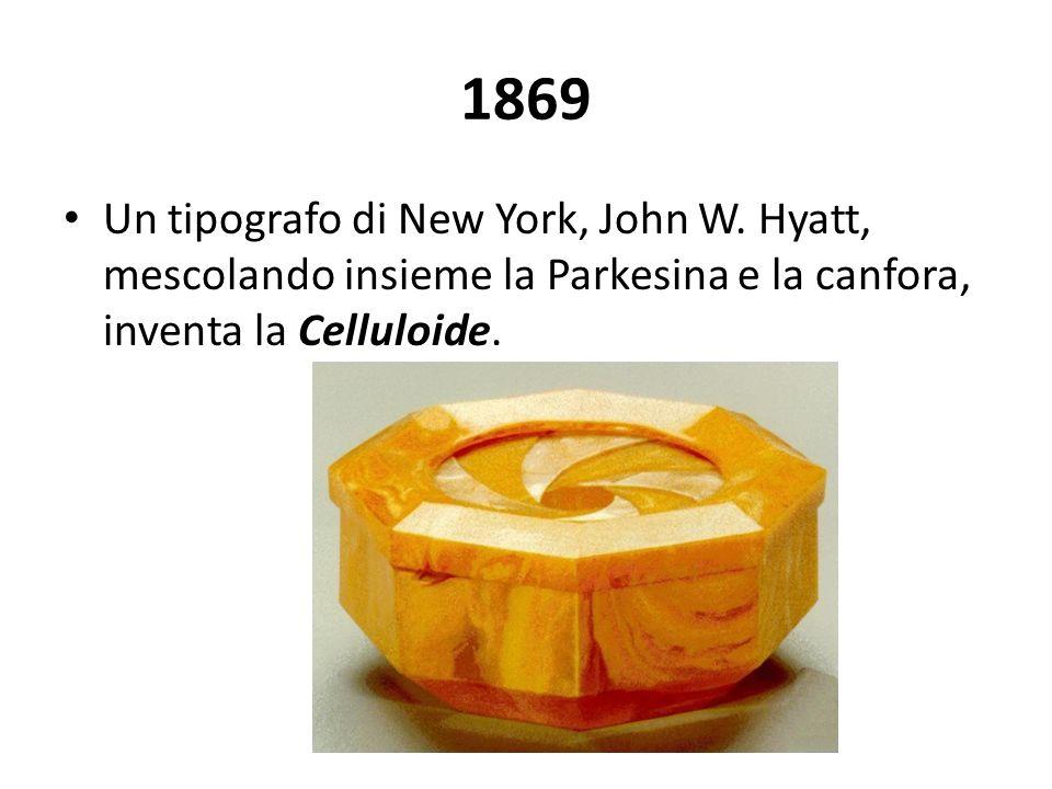 1869 Un tipografo di New York, John W. Hyatt, mescolando insieme la Parkesina e la canfora, inventa la Celluloide.