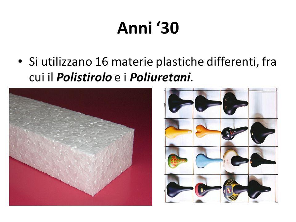 Anni 30 Si utilizzano 16 materie plastiche differenti, fra cui il Polistirolo e i Poliuretani.