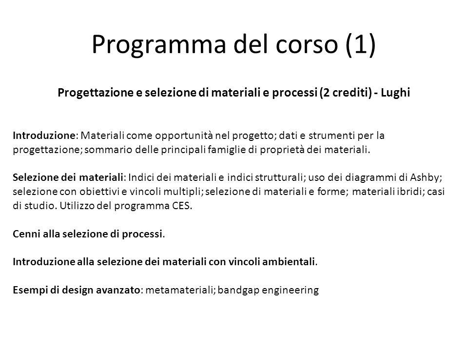 Programma del corso (1) Progettazione e selezione di materiali e processi (2 crediti) - Lughi Introduzione: Materiali come opportunità nel progetto; d