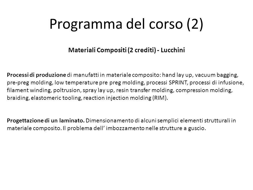 Programma del corso (2) Materiali Compositi (2 crediti) - Lucchini Processi di produzione di manufatti in materiale composito: hand lay up, vacuum bag