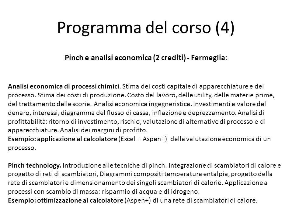 Programma del corso (4) Pinch e analisi economica (2 crediti) - Fermeglia: Analisi economica di processi chimici. Stima dei costi capitale di apparecc