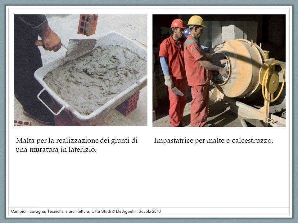 Campioli, Lavagna, Tecniche e architettura, Città Studi © De Agostini Scuola 2013 Malta per la realizzazione dei giunti di una muratura in laterizio.